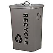 27L Steel Recycling Bin Taupe With Lid & Handles