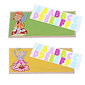 Bigjigs Toys Name Plaque (Fairy) (Pack of 2 - Green and Yellow)