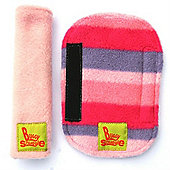 Buggy Snuggle Cerise Fleece Strap Covers (Pink Stripe)