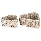 White Wash Hyacinth Heart Baskets, Set of 2