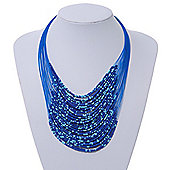 Blue Glass Bead Layered Necklace In Silver Plating - 54cm Length/ 6cm Extension