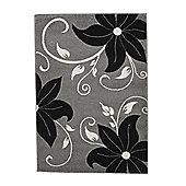 Think Rugs Verona Grey/Black Carved Rug - Runner 60 cm x 225 cm (1 ft 11 in x 7 ft 5 in)