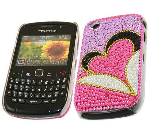 Purple Hot Pink Heart FunkGem Back Cover Case - BlackBerry 8520 Curve, 930.3G.