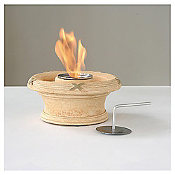 Ethanol Fire Bowl Table Top Heater, Sandstone 15x32cm