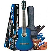 Ashton SPCG44TBB Classical Guitar Starter Pack (Trans Blue)
