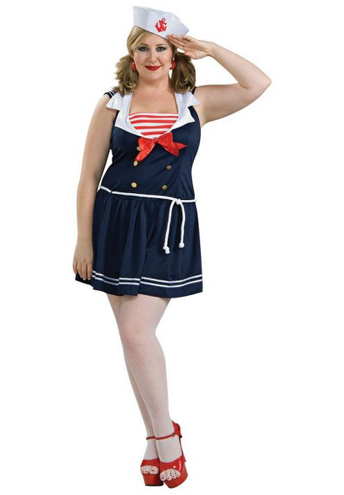 Rubies Fancy Dress - Secret Wishes - Sailor Girl Costume - ADULT PLUS SIZE