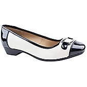 Emilio Luca X Ladies Kennedy Black and White Low Heeled Shoes - Black