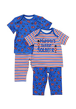 F&F 2 Pack of Little Soldier Pyjamas - Blue & Red