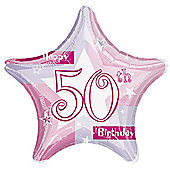 "18"" Foil Balloon - 50th Star Pink (each)"