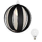 Globe Ceiling Light Pendant Shade in Black with 6W LED Globe Bulb