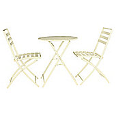Milan Round  Steel  Folding Bistro Set - Cream