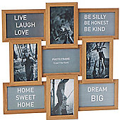 Collage - Solid Wood Photo Frame - With 9 Apertures - Oak