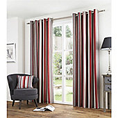 Fusion Melrose Stripe Red 90x90 Eyelet Lined Curtain