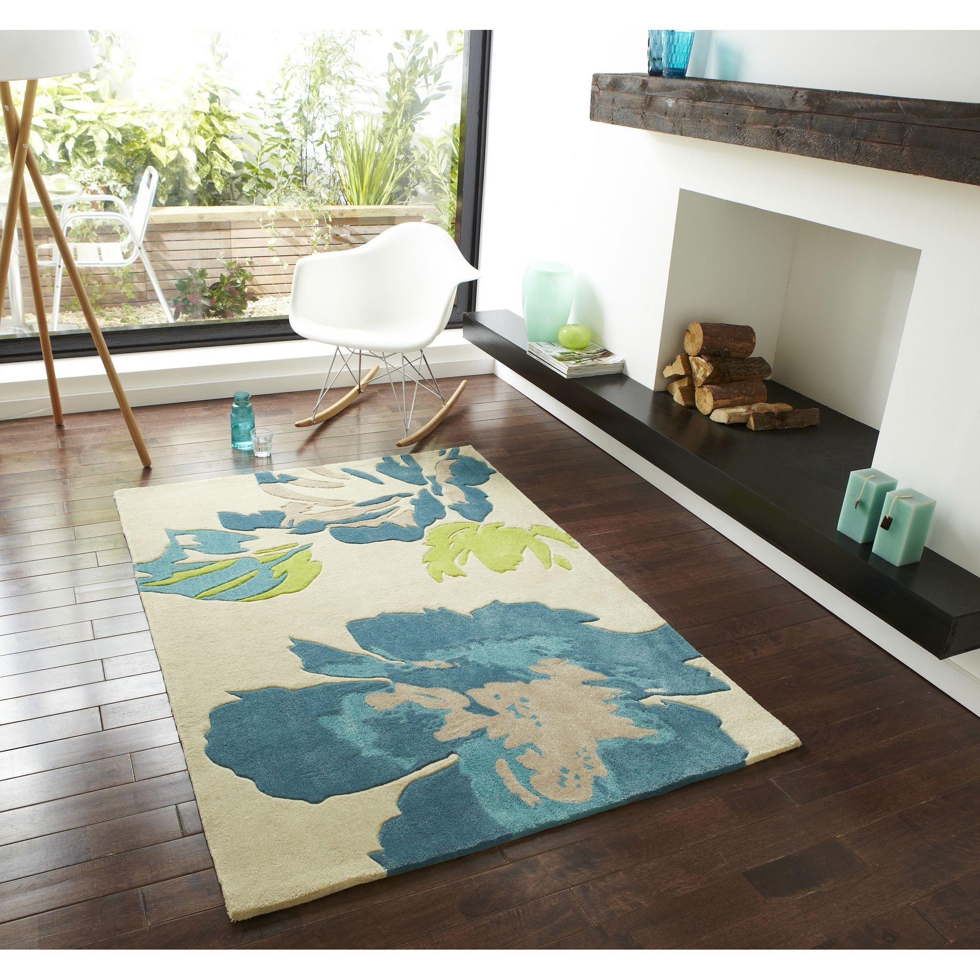 Oriental Carpets & Rugs Hong Kong 2827 Beige/Blue Rug - 90cm x 150cm