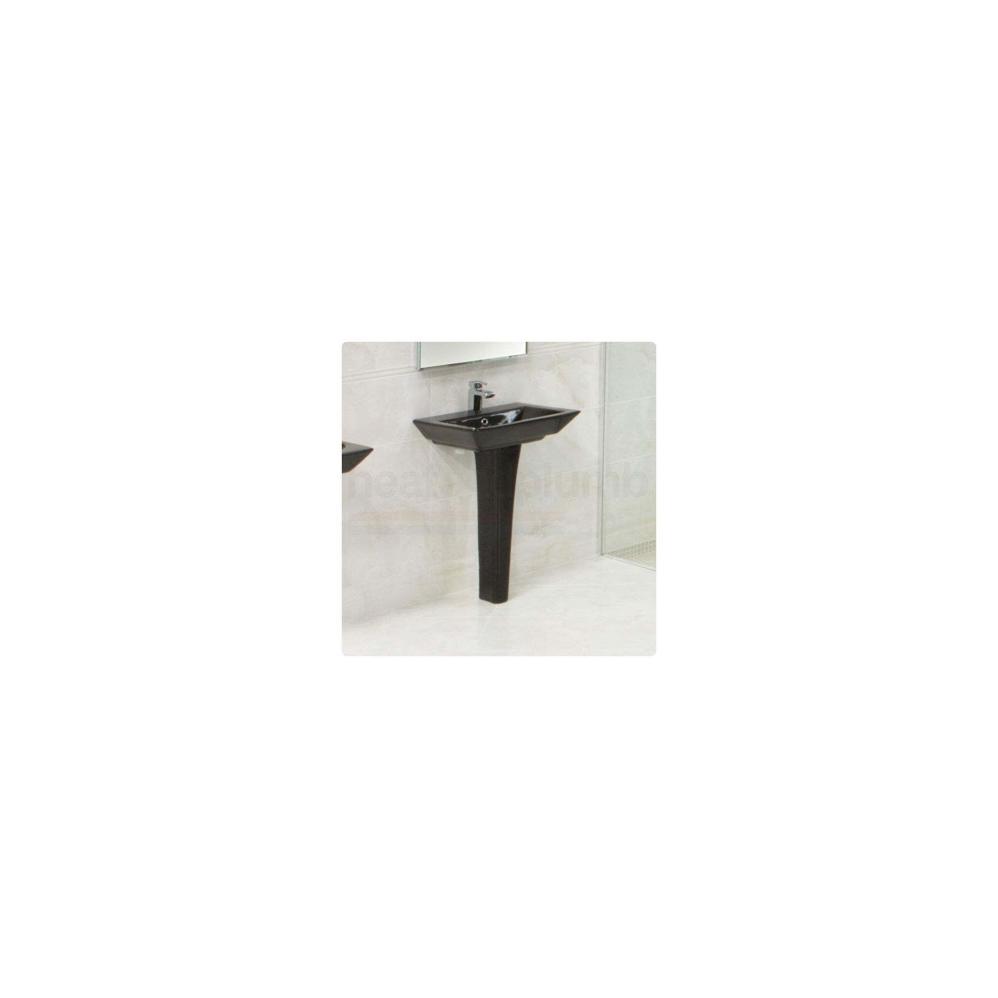 RAK Opulence Black 'His' Full Pedestal and Basin 580mm Wide 1 Tap Hole at Tesco Direct