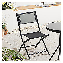 Textiline Folding Garden Chair, Black