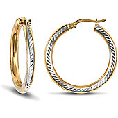 Jewelco London 9ct Yellow and White Gold Diamond Cut Hoop Earring