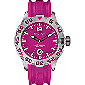 Nautica Ladies Pink Rubber Strap BFD 100 Watch A14607G A14607G
