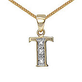 Jewelco London 9 Carat Yellow Gold Elegant Diamond-Set Pendant on an 18 inch Pendant Chain Necklace - Inital T