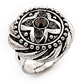 Round Diamante Fancy Ring In Burn Silver Metal