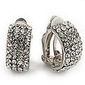 C-Shape Swarovski Crystal Clip-on Earrings In Rhodium Plating - 2cm Length