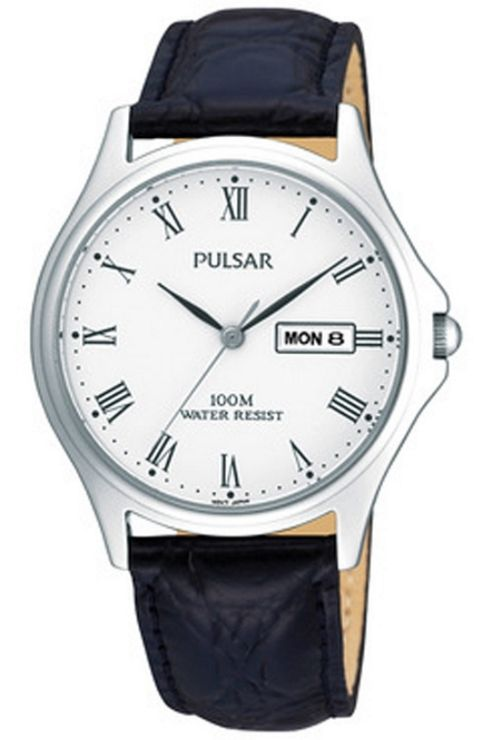 Pulsar Gents Black Leather Strap Watch PXF293X1