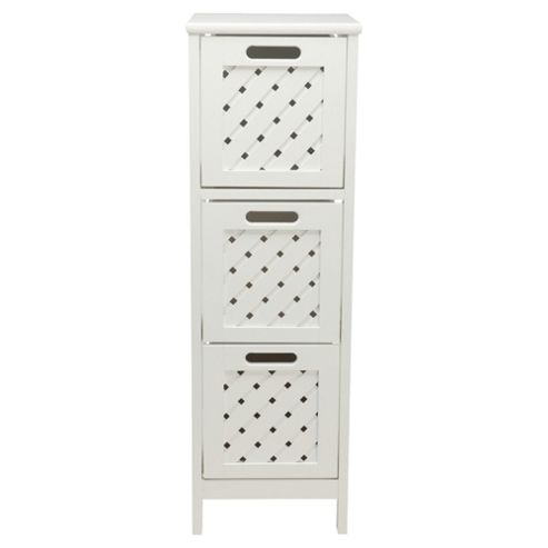 Sheringham Bathroom Tower Cabinet - 3 Drawer, White Wood