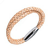 Urban Male Genuine Tan Coloured Leather Plaited Magnetic Wrap Bracelet