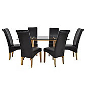 Atlantico Long Glass Dining Table Set with 6 Brown Chelsea Chairs