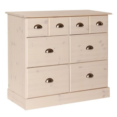Altruna Terra 2 Over 4 Deep Drawer Chest - White Wash Pine
