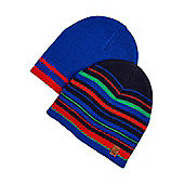 F&F Pack of 2 Striped Beanies - Multi