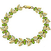 QP Jewellers 7.5in Peridot & Opal Butterfly Bracelet in 14K Gold