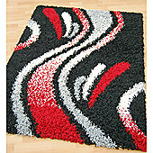 Origin Red Cosmo Black Rug - 220cm x 160cm (7 ft 2.5 in x 5 ft 3 in)