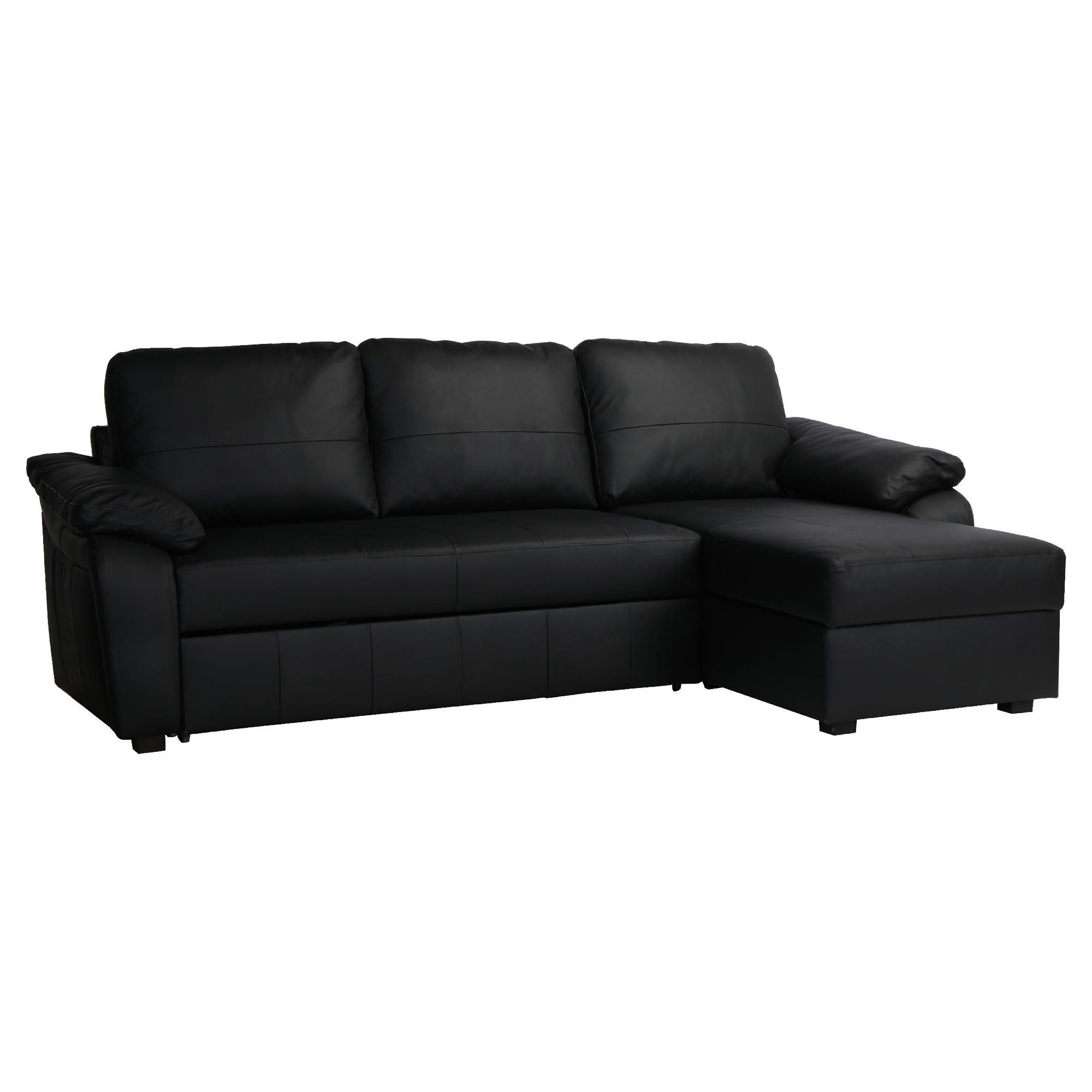 Ashmore Leather Corner Chaise Sofabed Black Right Hand Facing at Tesco Direct