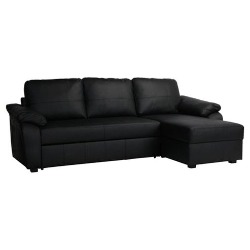 Ashmore Leather Corner Chaise Sofa Bed Black Right Hand Facing