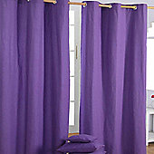 Homescapes Cotton Plain Purple Ready Made Eyelet Curtain Pair, 117 x 137 cm