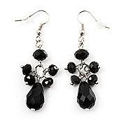 Jet Black Acrylic Bead Drop Earrings (Silver Tone Metal) - 5.5cm Length
