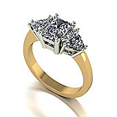 18ct Gold 7x5 Radiant Cut Moissanite and two 5.0mm Trillion Moissanite 3 Stone Ring