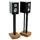 MOSECO 6 Black and Light Oak Speaker Stands
