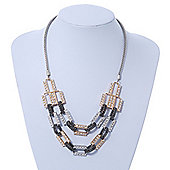 Silver/ Gold/ Black Tone Diamante Square Link Mesh Chain Necklace - 52cm Length/ 7cm Extension