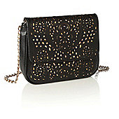 Black and Gold Laser Cut Chain Bag