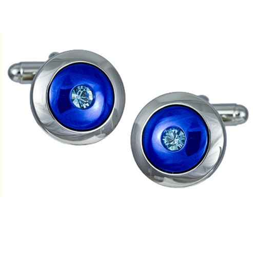 Atlas Round Blue Enamel & Crystal Cufflinks