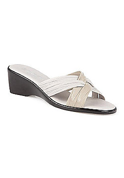 Pavers Mid-Heel Wedge Mule with Crossover Straps Black - 2 - White