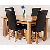 Seattle Solid Oak 150 cm Extending Dining Table with 4 Washington Leather Dining Chairs (Black)
