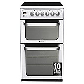 Hotpoint HUE52PS, Ultima, Freestanding, Electric Cooker, 50cm, White, Twin Cavity, Double Oven