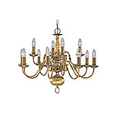 12 Arm Solid Brass Flemish Hanging Light with Looping Arms