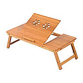 Homcom Portable Bamboo Laptop Table with Drawer Adjustable & Foldable