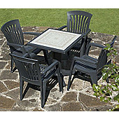 Nardi Giove 70cm Ravenna Table with Four Diana Chairs Set in Anthracite