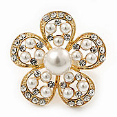 Caviar Simulated Pearl and Swarovski Crystal Floral Cocktail Ring in Gold Plating - 30mm Size 7/8 Adjustable