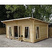 17ft x 13ft (5.2m x 4m) Pent Log Cabin (Double Glazing) 34mm T&G